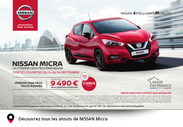 NISSAN Micra - la citadine High-Tech - Concession NISSAN Muret